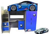 Кровать-чердак Форсаж БМВ синяя без спойлера Цена 8297грн ( с комодом), фото 1