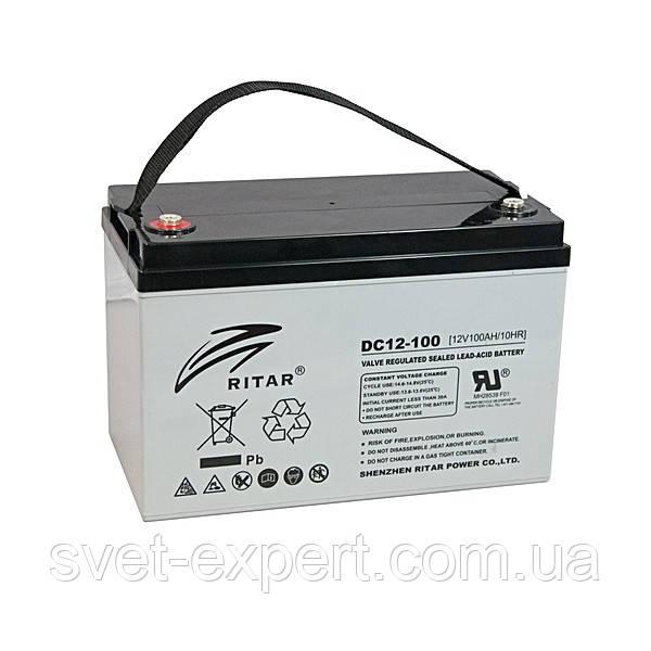 Аккумулятор AGM RITAR DC12-100, Gray Case, 12V 100Ah ( 328 x 172 x 215 (220), 30,0кг ) Q1