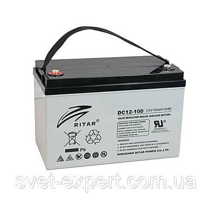 Аккумулятор AGM RITAR DC12-100, Gray Case, 12V 100Ah ( 328 x 172 x 215 (220), 30,0кг ) Q1, фото 2