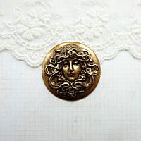 "Латунный штамп ""Камея дева"" 35 мм, бронза  , фото 1"