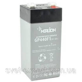 Акумулятор MERLION AGM GP44F1 4 V 4 Ah ( 47 x 47 x 100 (105 ) ) Q30