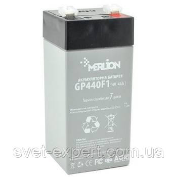 Аккумулятор MERLION AGM GP44F1 4 V 4 Ah ( 47 x 47 x 100 (105 ) ) Q30, фото 2