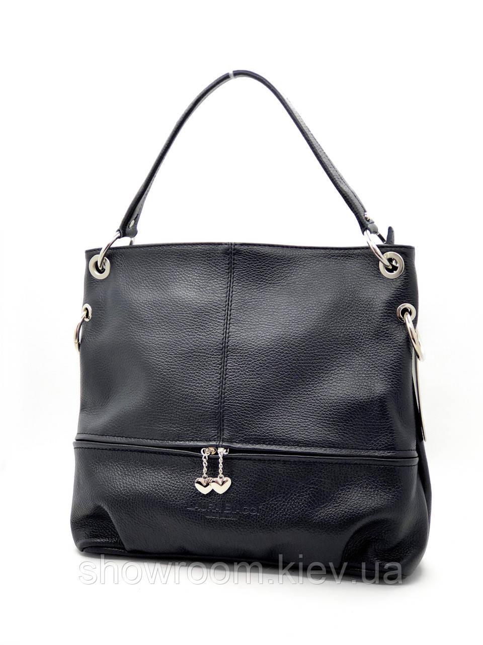 Сумка шоппер женская Laura Biaggi (54-03) кожаная черная