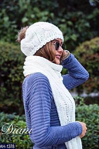 Женский классный зимний набор (шапка+шарф)