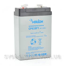 Акумулятор MERLION AGM GP628F1 6 V 2,8 Ah ( 67 x 35 x 100 (105) ) Q20