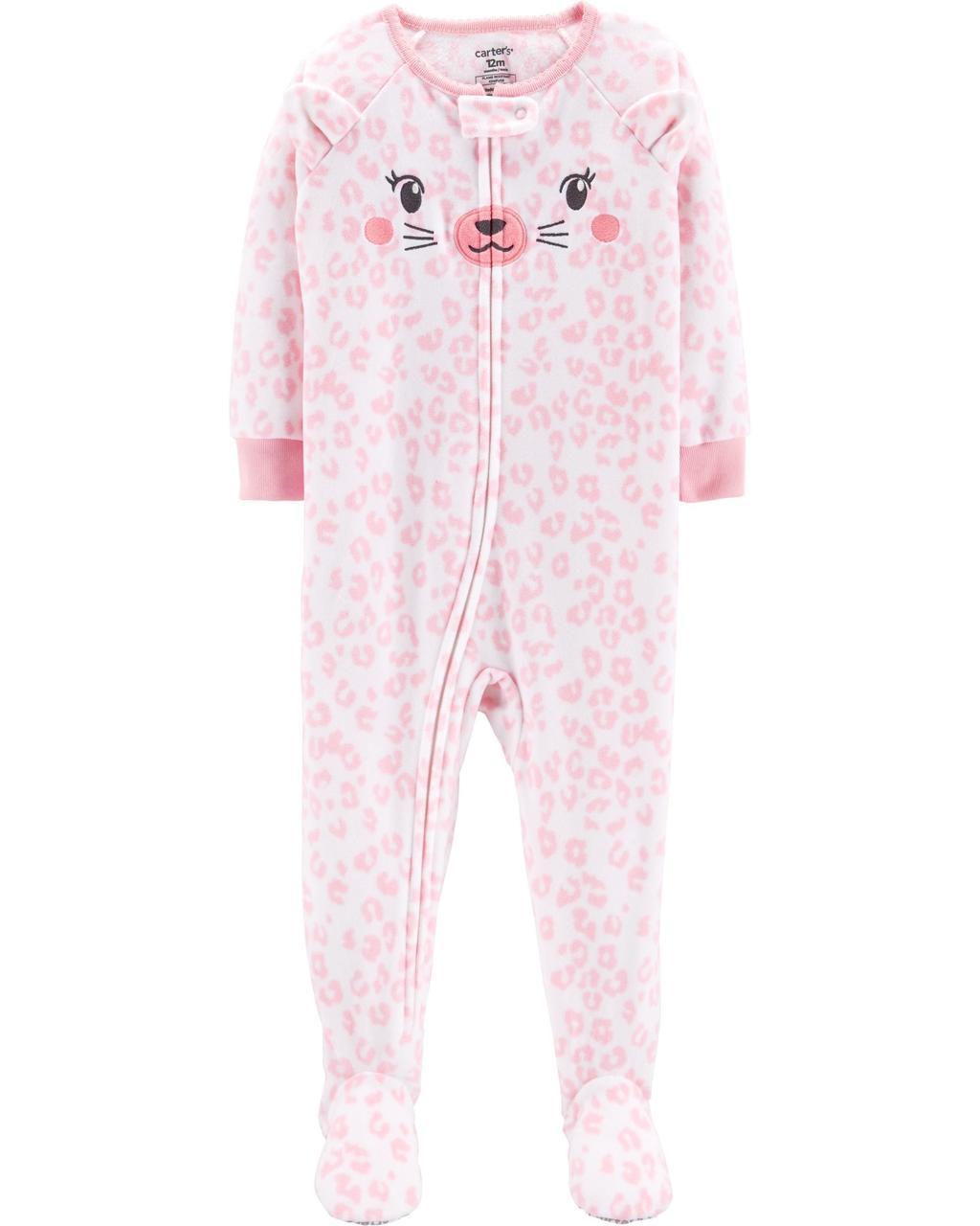 Пижама-человечек флис для девочек 2-3-4-5 лет Дикая кошечка Carter's (США)