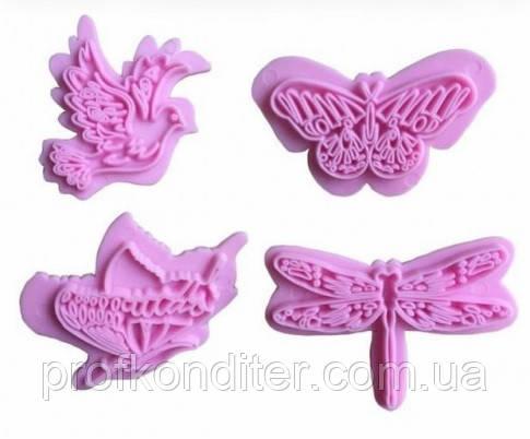 Голуби,метелики,бабки набір штампів для мастики