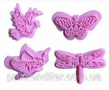 Голуби,бабочки,стрекозы набор штампов для мастики