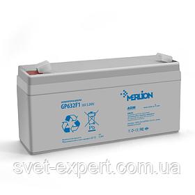 Акумулятор MERLION AGM GP632F1 6 V 3,2 Ah ( 67 x 35 x 115 (120 ) ) Q20
