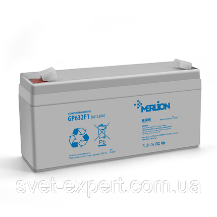 Аккумулятор MERLION AGM GP632F1 6 V 3,2Ah  ( 67 x 35 x  115 (120 ) ) Q20, фото 2