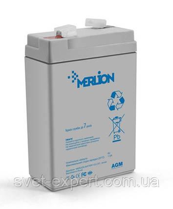 Аккумулятор MERLION AGM GP645, 6V 4.5Ah  ( 70 x 47 x 100 (105) ) Q20, фото 2