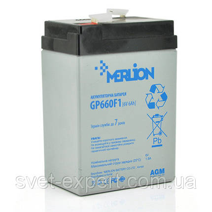 Аккумулятор MERLION AGM GP660F1 6 V 6Ah  ( 70 x 47 x 100 (105) ) Q20, фото 2
