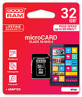 MicroSDHC  GOODRAM 32GB UHS-I Class 10 + SD-adapter (M1AA-0320R11)
