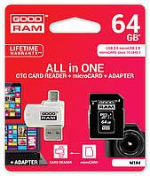 MicroSDXC GOODRAM 64GB UHS-I Class 10 + SD-adapter + OTG Card reader (M1A4-0640R11)