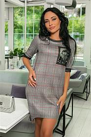 Женское Платье (141)№ 718. 6 Цветов. Ткань: замш + двухсторонняя пайетка + сетка  Размеры : 44, 46, 48, 50, 52.