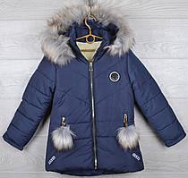 """Куртка зимняя на овчине """"Gucci реплика"""" для девочек. 6-7-8-9-10 лет (116-140 см). Темно-синяя. Оптом."""