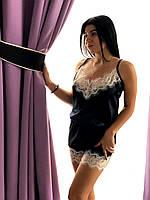 Черный атласный комбинезон пижама ТМ Exclusive с кружевом, фото 1