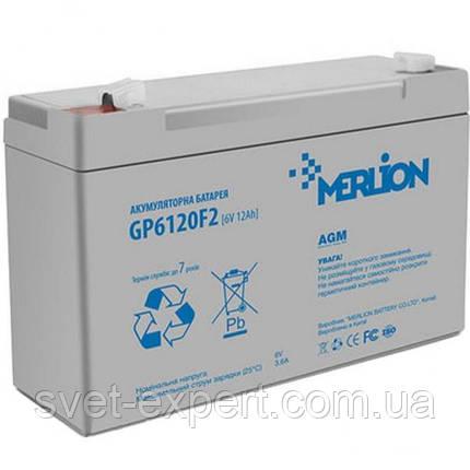 Аккумулятор MERLION AGM GP612F2 6 V 12Ah  ( 150 x 50 x 95 (100) ) Q10, фото 2