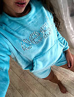 Домашний костюм  женский махровый, двойка  (шорты+кофта)
