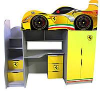 Кровать чердак серии Драйв Феррари желтая со спойлером Цена 7603 грн (без комода)