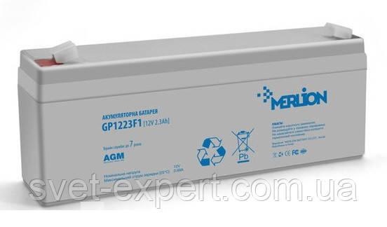 Аккумулятор MERLION AGM GP1223F1 12 V 2,3Ah   ( 178 x 35 x 60 (65) ) Q10, фото 2