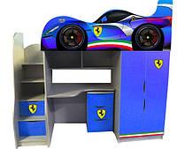 Кровать чердак серии Форсаж Феррари синяя со спойлером Цена 8297грн ( с комодом)
