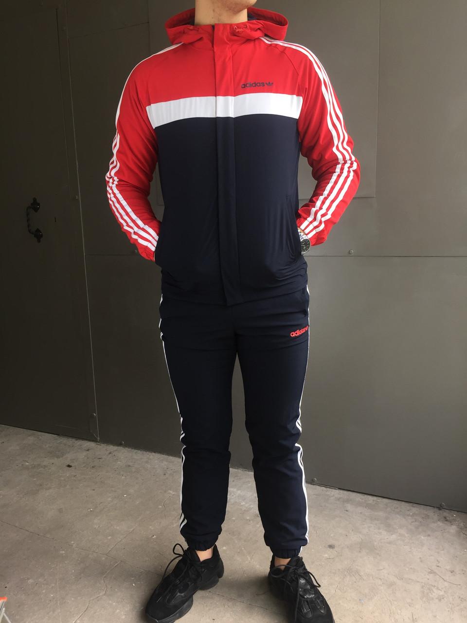 Мужской спортивный костюм Adidas (красный) (зима) + ПОДАРОК