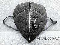 Защитная маска на лицо с обратным клапаном черная, фото 1