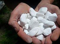 Біла мраморна морська  галька, натуральна для ландшафтного дизайну Греція 20-40 мм (0224)