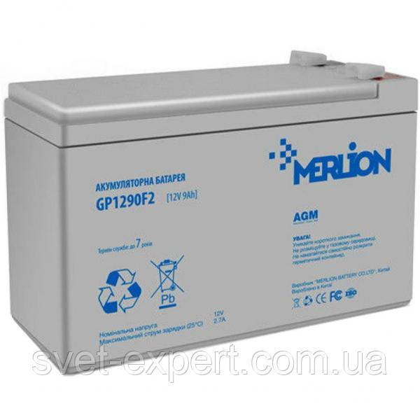 Аккумулятор MERLION AGM GP1290F2 12 V 9 Ah ( 150 x 65 x  95 (100) ) White Q8