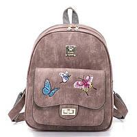 Рюкзак женский стильный с бабочками (розовый), фото 1