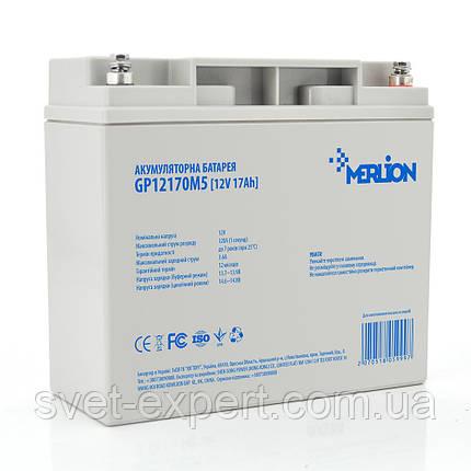 Аккумулятор MERLION AGM GP12170M5 12 V 17Ah ( 180 x 78 x 165 (168)) 4,3 кг Q4, фото 2