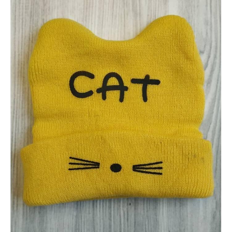 Шапка детская весна - осень Cat желтая 2192