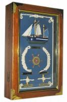 Ключница настенная из натурального дерева Морская 30х20х6,5 см.