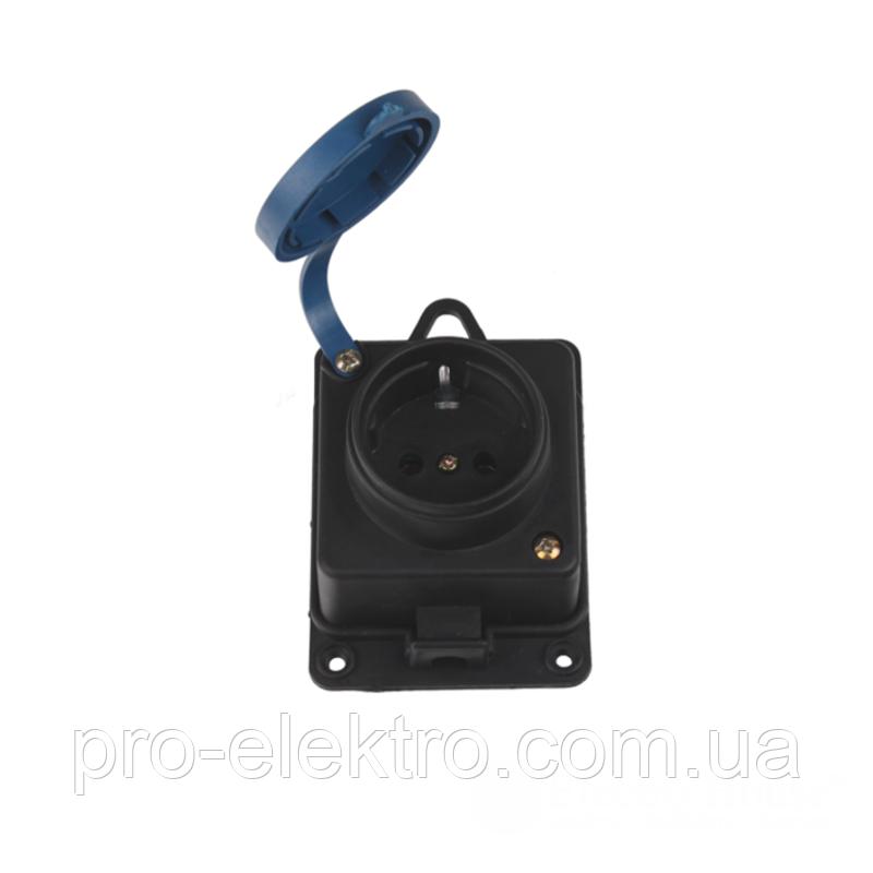 Каучуковая настенная розетка с заземлением и крышкой чёрная IP 44 Garant EH-2156