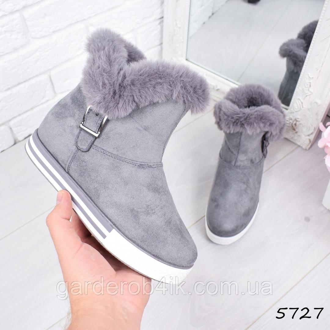 Женские ботинки с опушкой серые