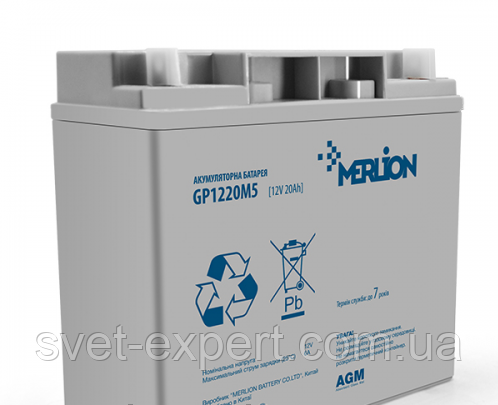 Аккумулятор MERLION AGM GP1220M5 12 V 20 Ah ( 180 x 78 x 165 (168) ) 4,8 кг Q4, фото 2