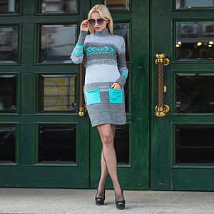 Вязаное зимнее стильное платье Мулине мята