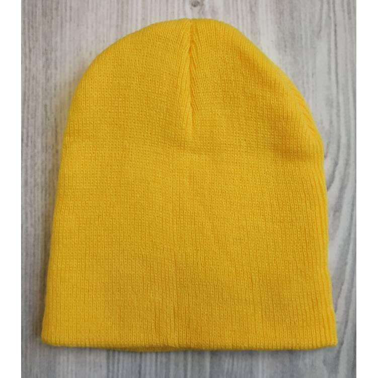 Детская шапка весна - осень желтая 2186