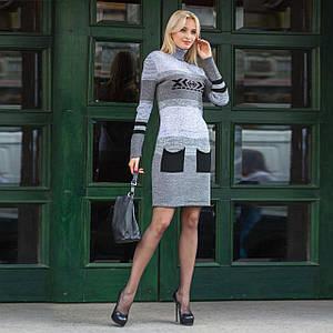 Вязаное зимнее стильное платье Мулине черный