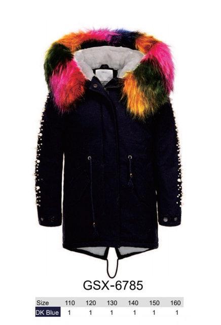 Куртки з хутром для дівчаток оптом, розміри 110-160 Glo-story, арт. GSX-6785