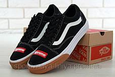 Кеды унисекс черные Supreme x Vans Old Skool (реплика), фото 2