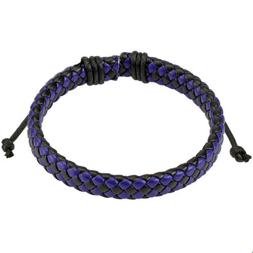 Кожаный плетеный браслет разноцветный Spikes
