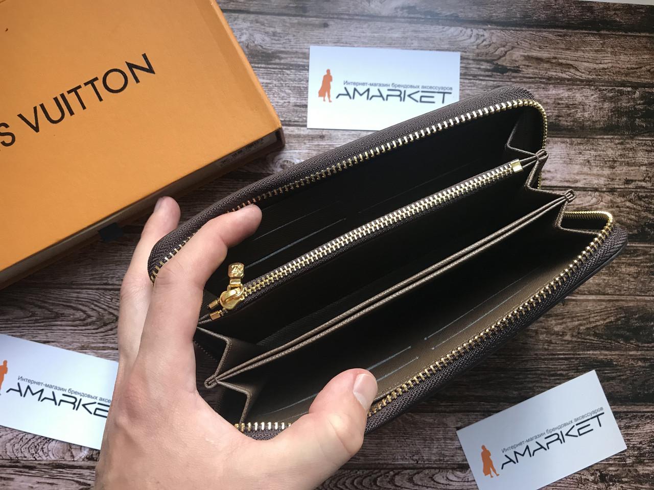 cfb22afdcf00 ... Кошелек клатч портмоне бумажник коричневый мужской женский Louis Vuitton  Monogram премиум реплика, ...