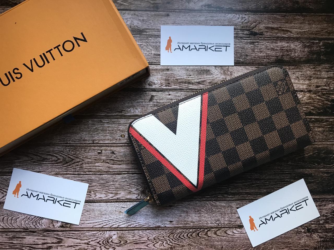 8970fb8d93b5 Кошелек клатч портмоне бумажник коричневый мужской женский Louis Vuitton  Monogram премиум реплика