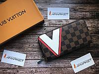 Кошелек клатч портмоне бумажник коричневый мужской женский Louis Vuitton Monogram премиум реплика