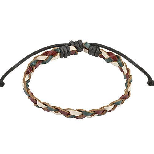 Кожаный плетеный браслет красно-зеленый Spikes