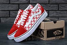 Кеды унисекс красные Supreme x Vans Old Skool (реплика), фото 3