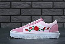 """Кеды унисекс розовые Vans Old Skool Art """"Rose"""" (реплика), фото 2"""