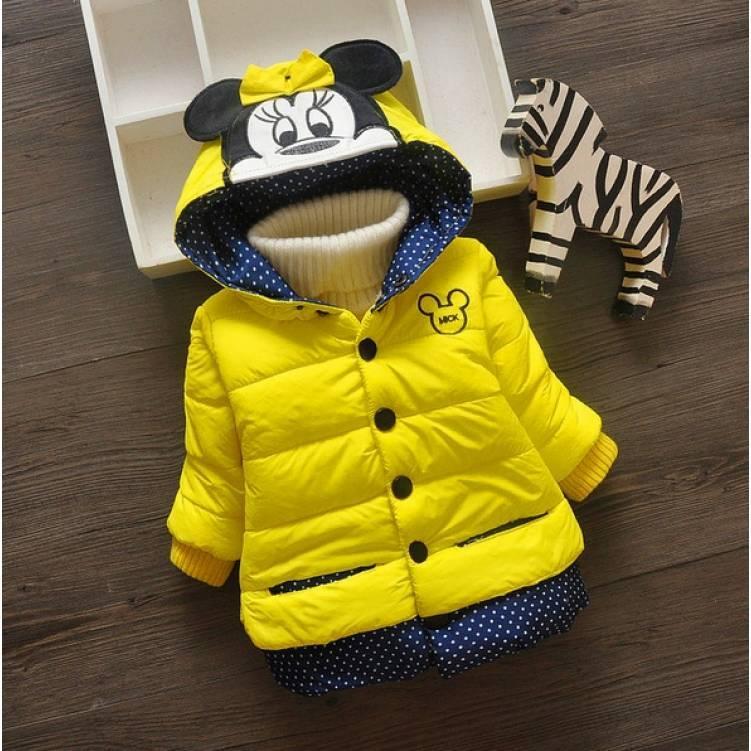 Куртка детская демисезонная  на девочку с минни маус  желтая 2 года